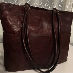 """Handbags - ⬇️$1250 Large Tooled Leather Bag Brown 17""""x13""""x4"""""""